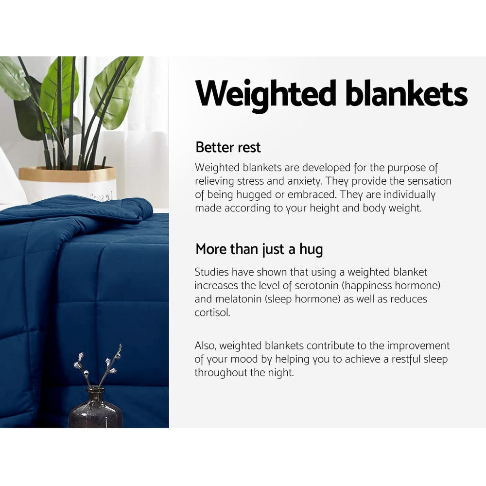 Giselle Bedding 9KG Cotton Weighted Blanket Navy