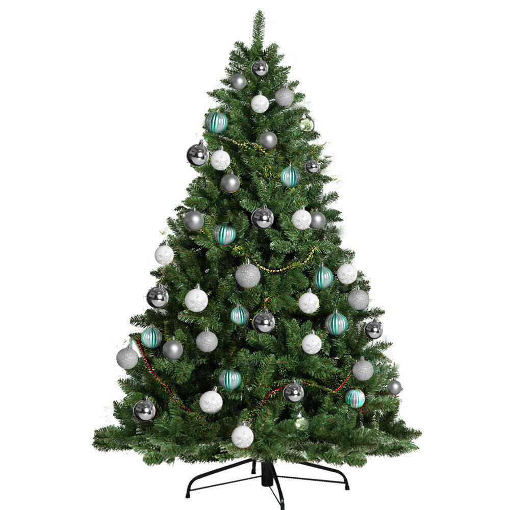 Jingle Jollys 6FT 1.8M Christmas Tree Baubles Balls Xmas Decorations Green Home Decor 800 Tips Green Silver