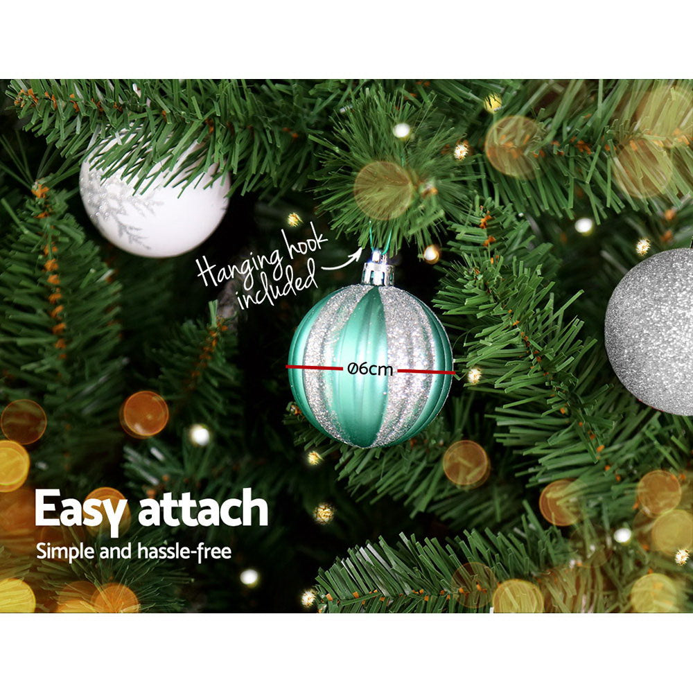 Jingle Jollys 6FT 1.8M Christmas Tree Baubles Balls 800 Tips Green Silver