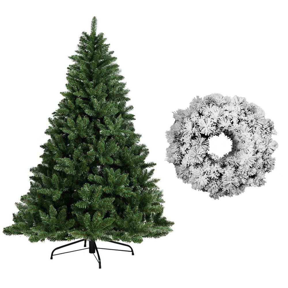 Jingle Jollys 6FT Christmas Tree Wreath 1.8M Xmas Decorations Green Home Decor 800 Tips Green Snowy