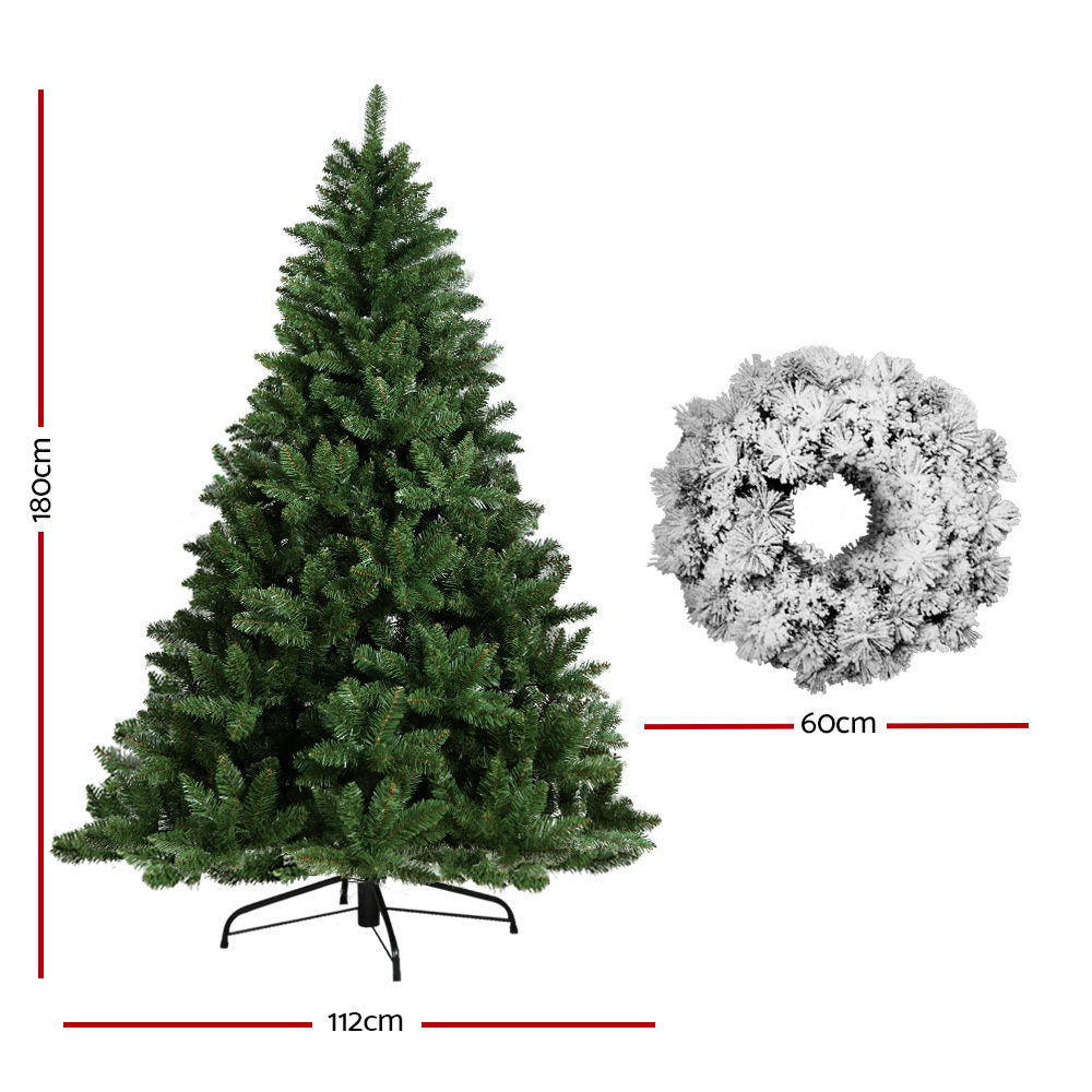 Jingle Jollys 6FT Christmas Tree Wreath 1.8M 800 Tips Green Snowy