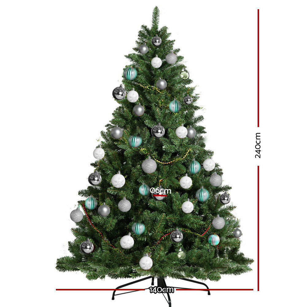 Jingle Jollys 8FT 2.4M Christmas Tree Baubles Balls 1400 Tips Green Silver