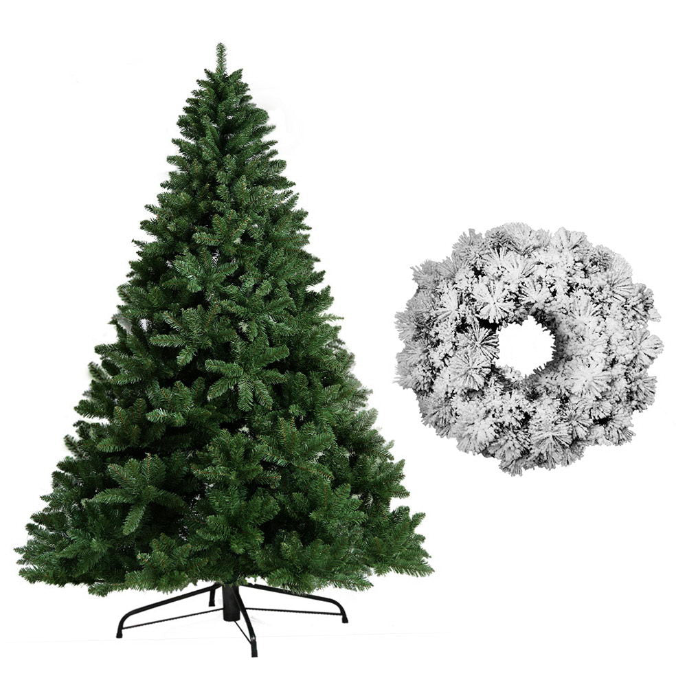 Jingle Jollys 8FT Christmas Tree Wreath 2.4M Xmas Decorations Green Home Decor 1400 Tips Green Snowy