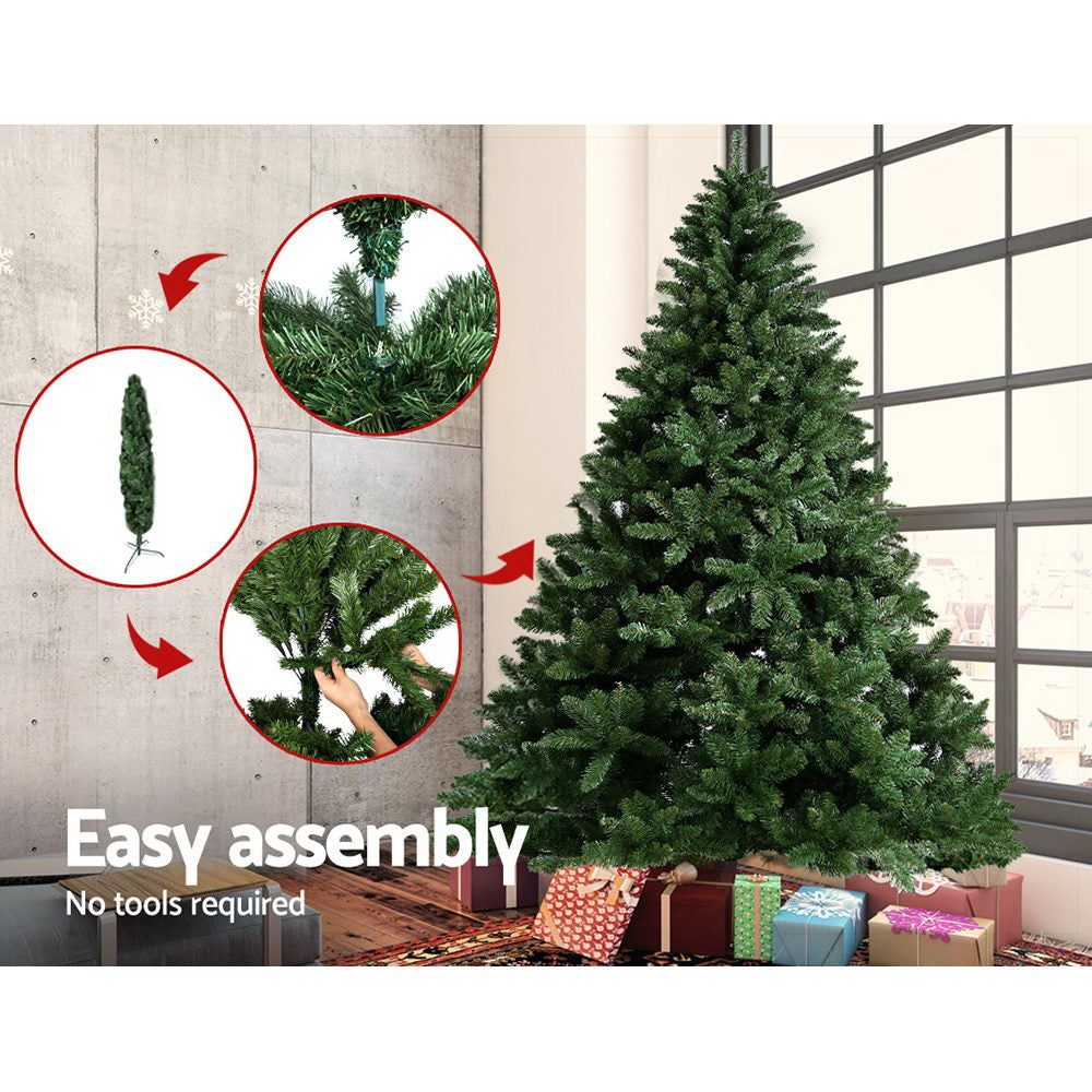 Jingle Jollys 8FT Christmas Tree Wreath 2.4M 1400 Tips Green Snowy