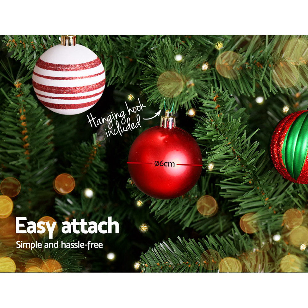 Jingle Jollys 8FT 2.4M Christmas Tree Baubles Balls 1400 Tips Green Snowy