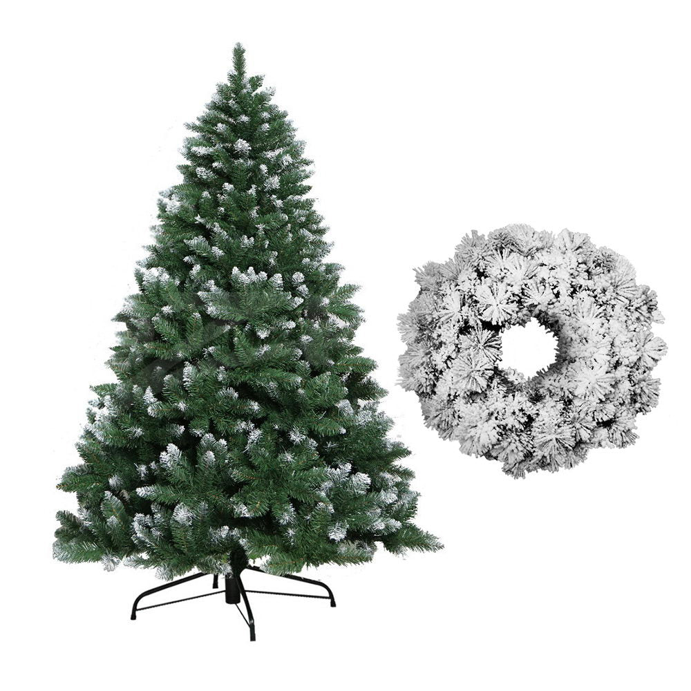 Jingle Jollys 8FT Christmas Tree Wreath 2.4M Xmas Decorations Green Home Decor 1400 Tips Green Snowy White