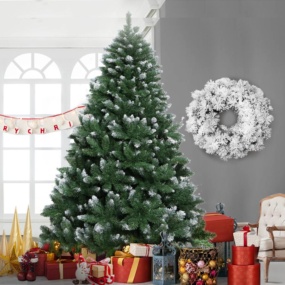 Jingle Jollys 8FT Christmas Tree Wreath 2.4M 1400 Tips Green Snowy White