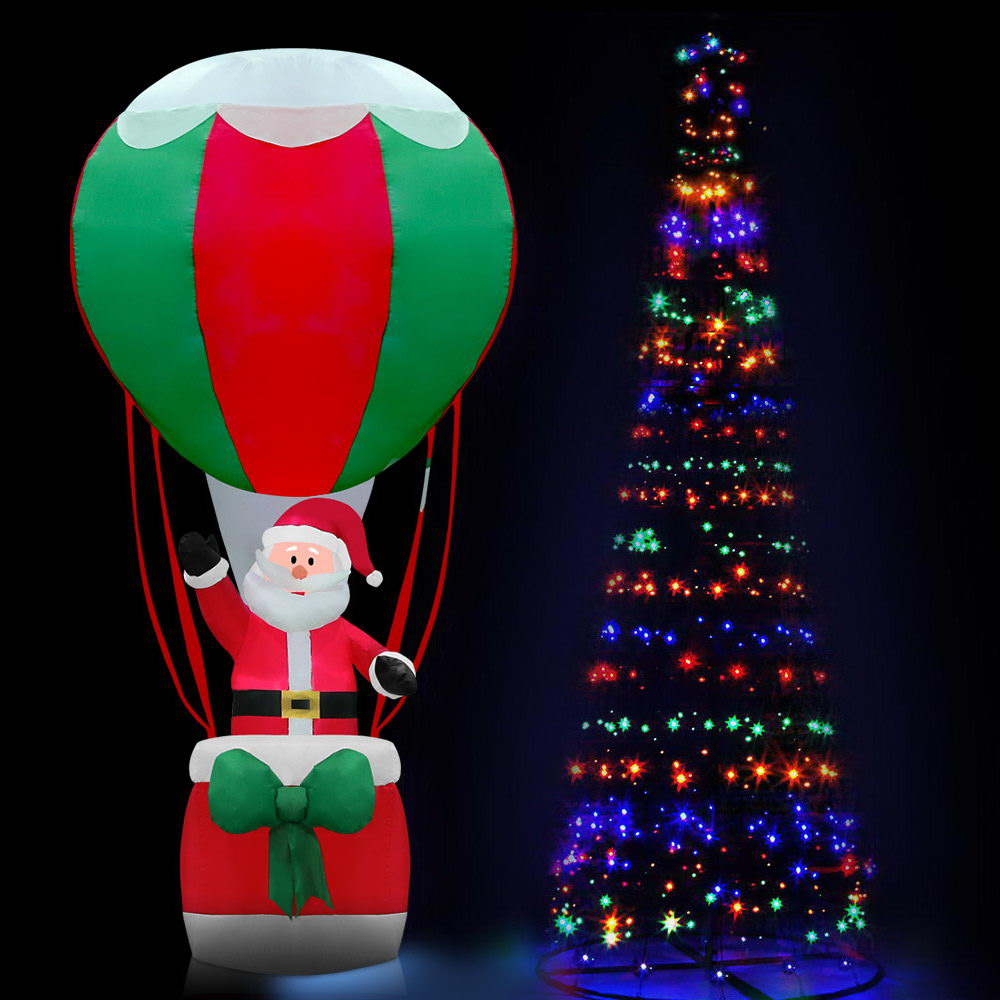 Jingle Jollys 3.6M LED Christmas Tree Lights Xmas Fibre Optic Decor Inflatable Set