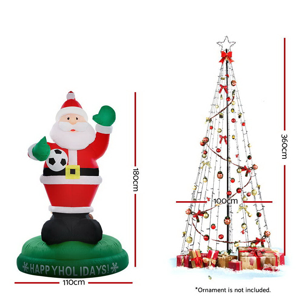 Jingle Jollys 3.6M LED Christmas Tree Inflatable Set