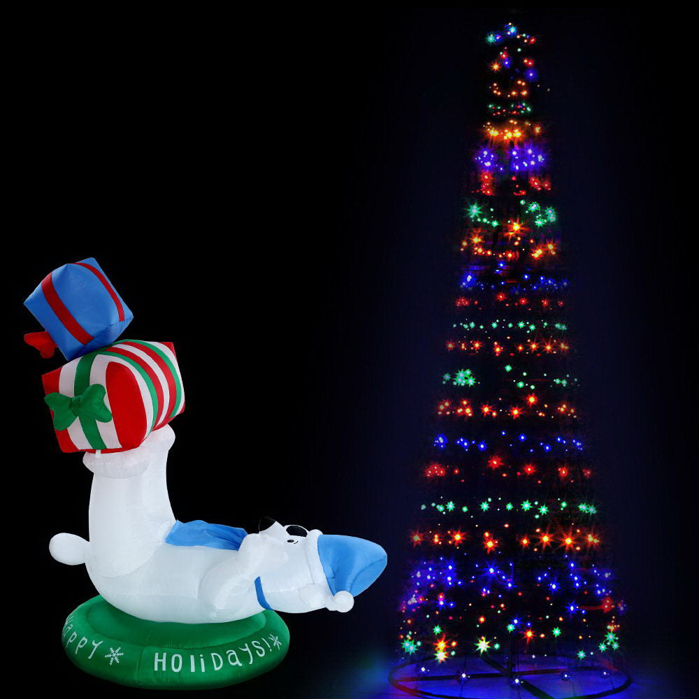 Jingle Jollys 3.6M LED Christmas Tree Inflatable Set Lights Xmas Optic Fibre Decor