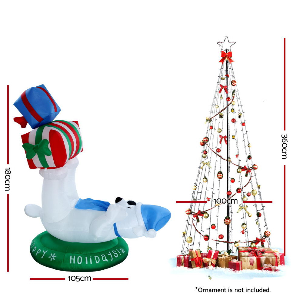 Jingle Jollys 3.6M LED Christmas Tree Inflatable