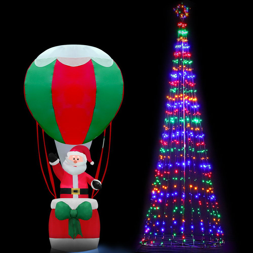 Jingle Jollys 5M LED Christmas Tree Lights 750pc LED Xmas Fibre Optic Inflatable Set