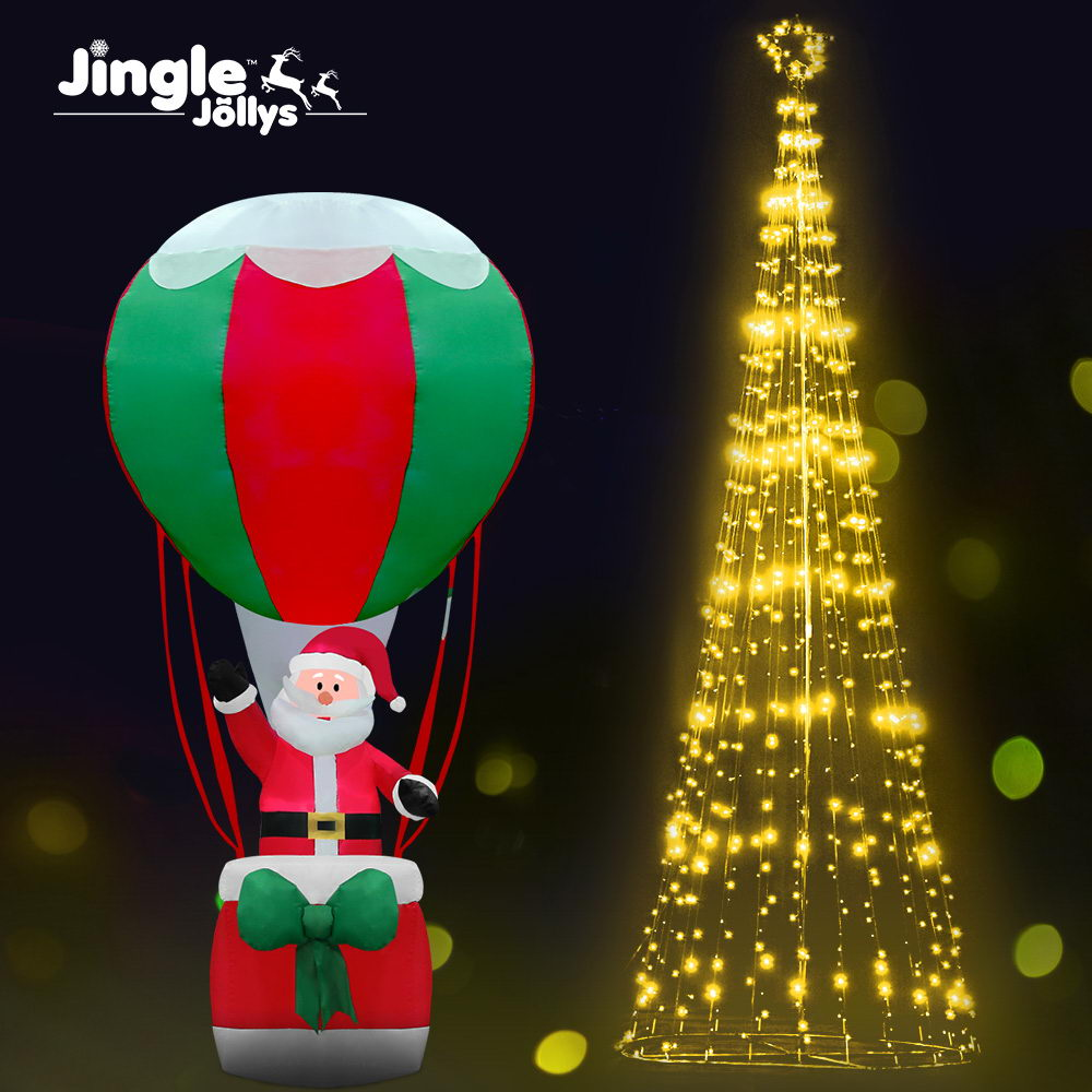 Jingle Jollys 5M LED Christmas Tree Lights LED 750pc Xmas Fibre Optic Inflatable Set