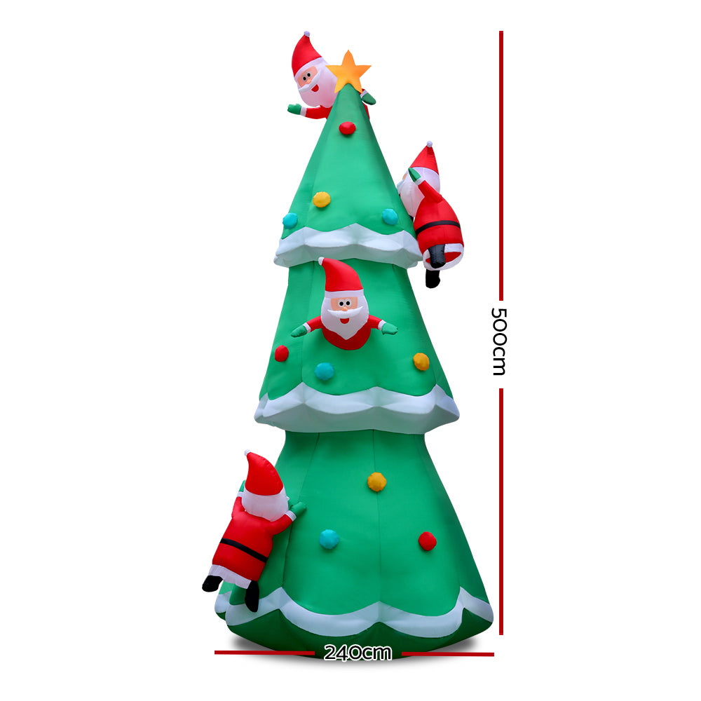 Jingle Jollys 5M Christmas Inflatable Santa on Christmas Tree Xmas Decor LED