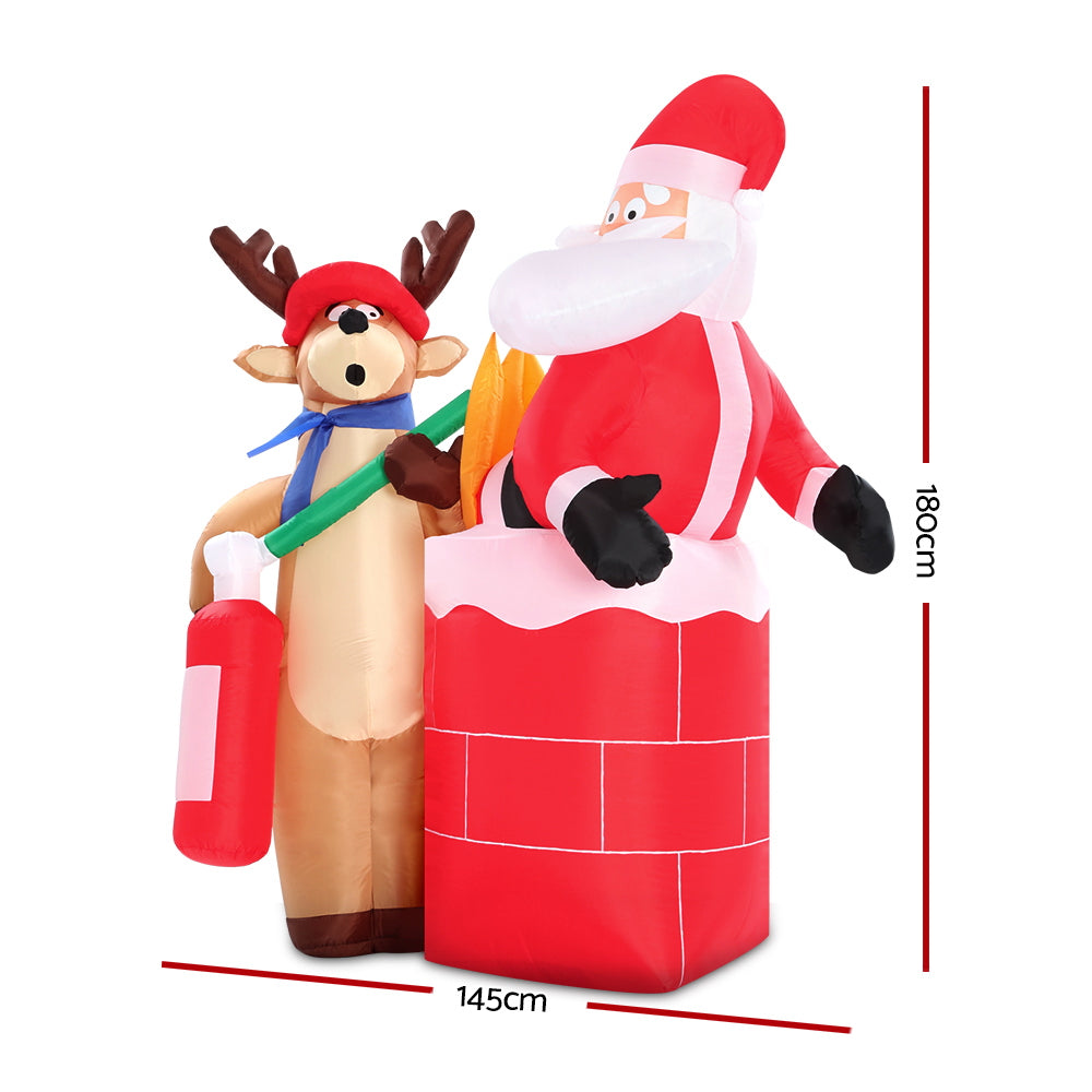Jingle Jollys 1.8M Christmas Inflatable Santa on Fire with Reindeer Xmas Decor LED