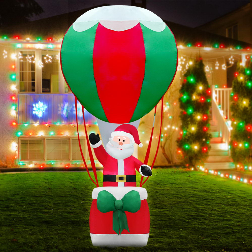 Jingle Jollys 3.6M Christmas Inflatable Santa on Air Balloon Xmas Decor LED