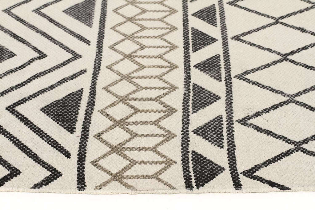 Zulu Totemic Shapes Ivory Rug