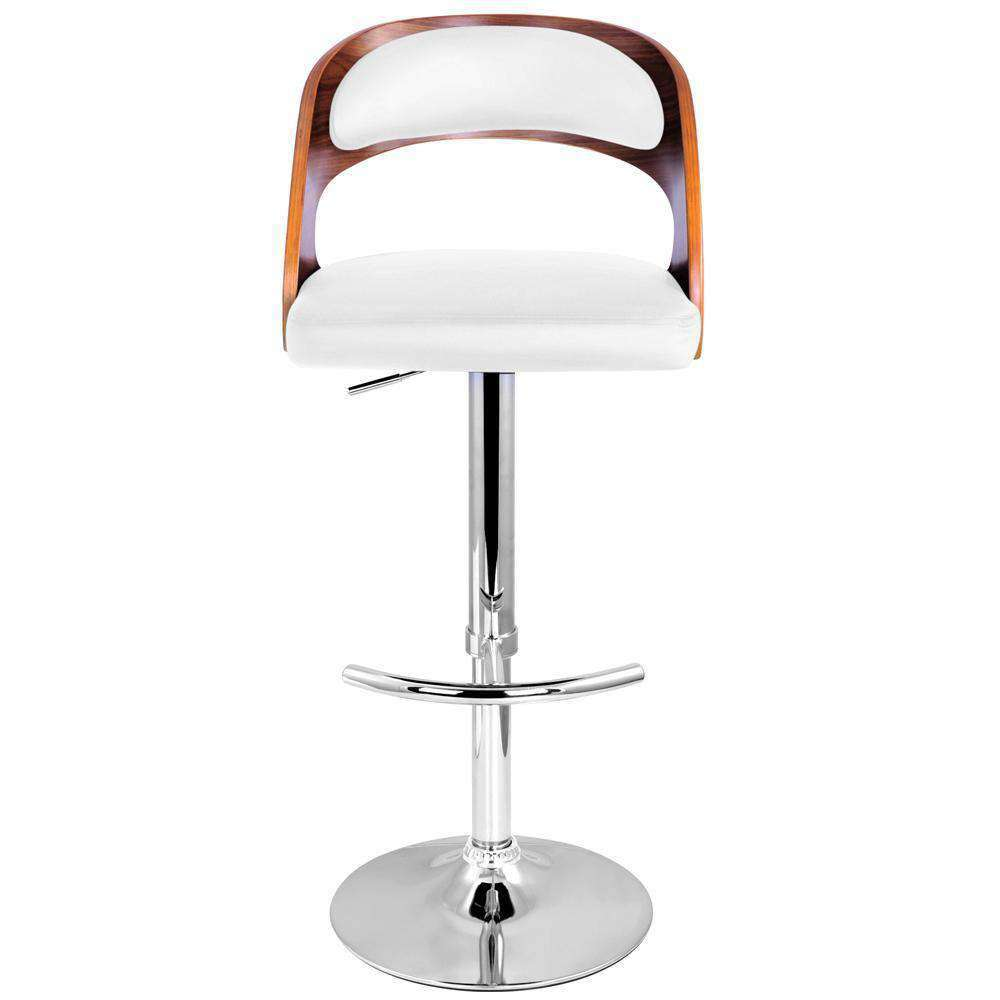 PU Leather Wooden Kitchen Bar Stool Padded Seat White - Desirable Home Living