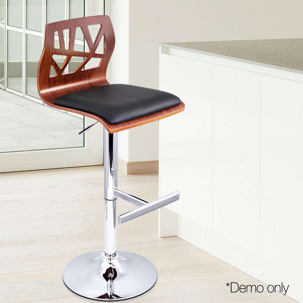 Set of 2 PU Leather Wooden Kitchen Bar Stool Padded Seat Black - Desirable Home Living