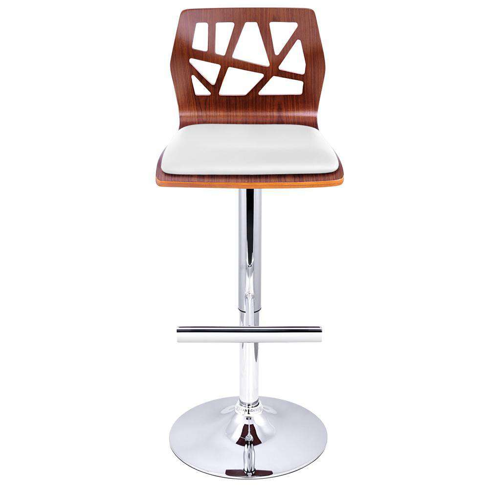 Set of 2 PU Leather Wooden Kitchen Bar Stool Padded Seat White - Desirable Home Living