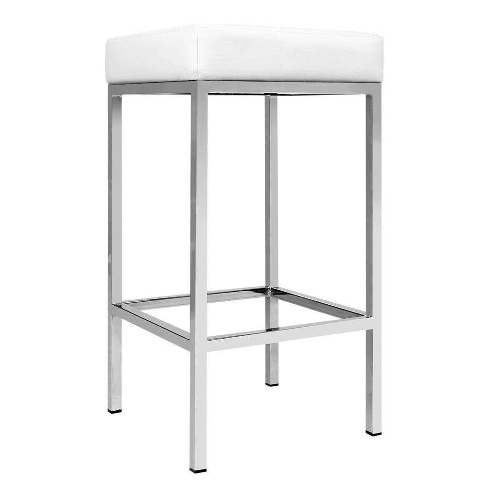 Set of 2 PU Leather Kitchen Bar Stool White - Desirable Home Living