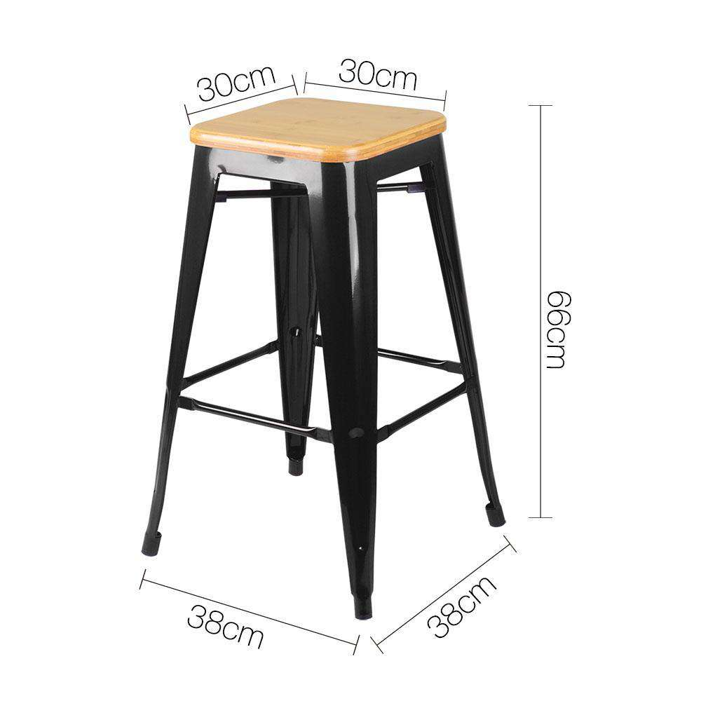 Set of 2 Replica Tolix Kitchen Bar Stool Bamboo Seat 66cm Black - Desirable Home Living