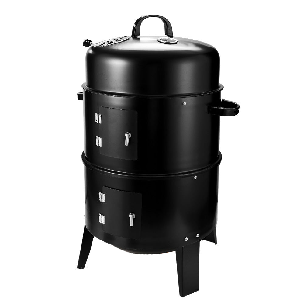3In1 Portable Charcoal Vertical Smoker BBQ Grill Roaster Steel Steamer