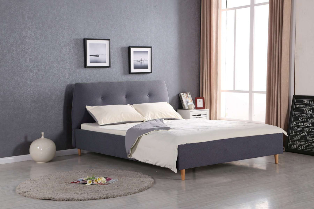 Scandi Queen Size Grey Fabric Bed - Desirable Home Living