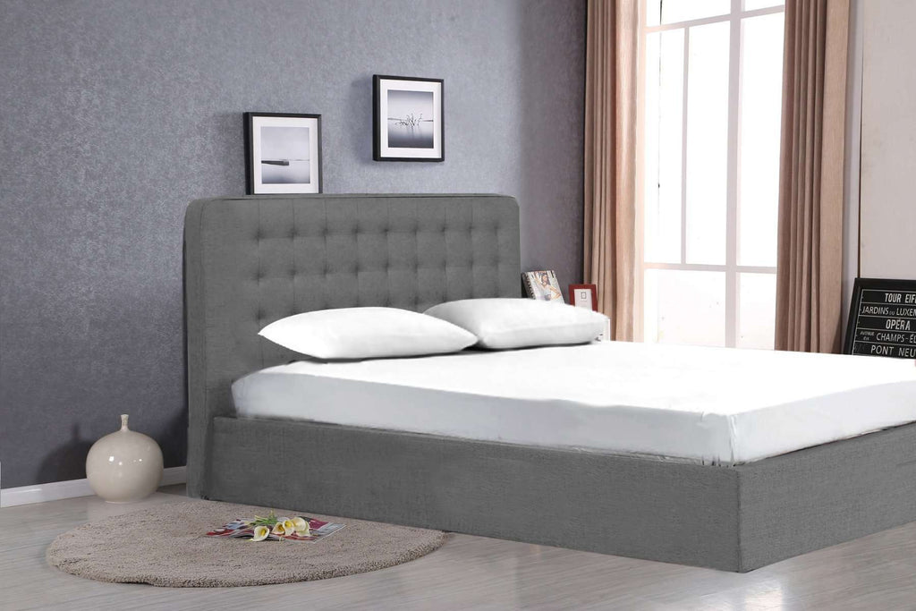 Queen Size Grey Fabric Gas Lift Bed - Desirable Home Living