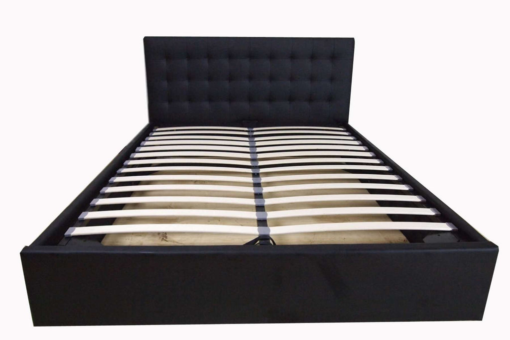 Queen Size Black Faux Leather Gas Lift Bed