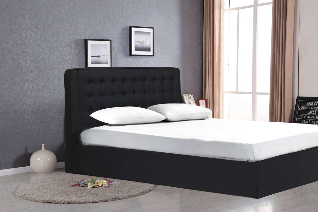 Queen Size Black Faux Leather Gas Lift Bed - Desirable Home Living