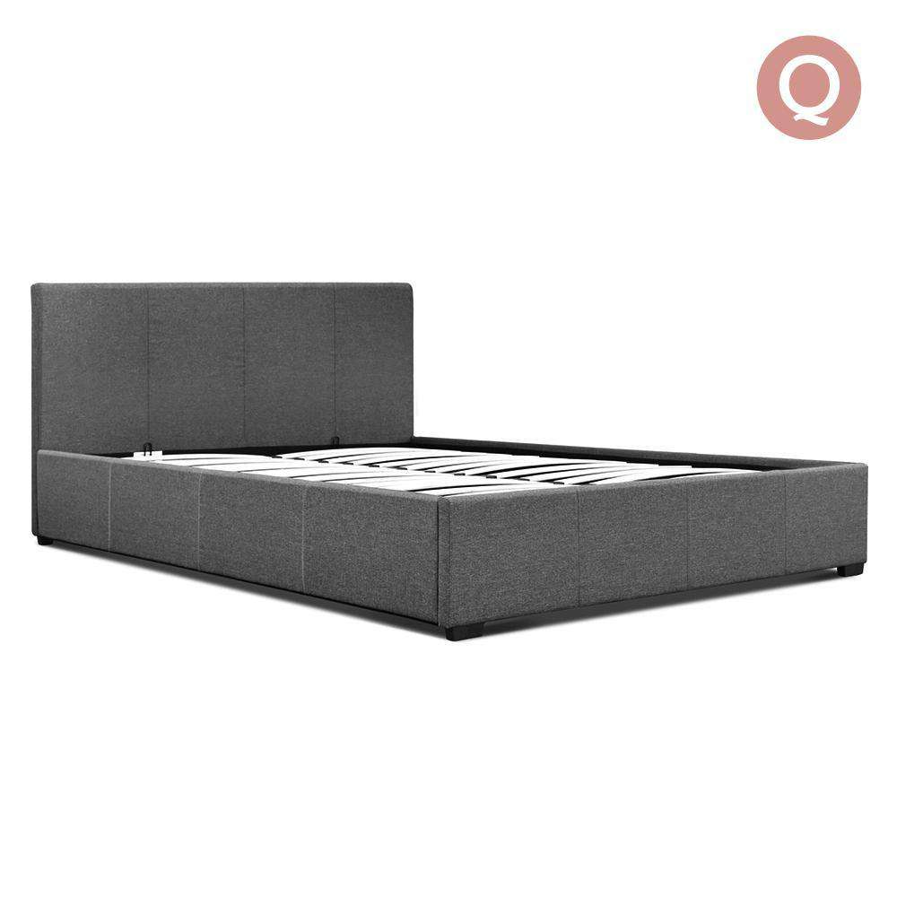 Queen Gas Lift Fabric Bed Frame Grey