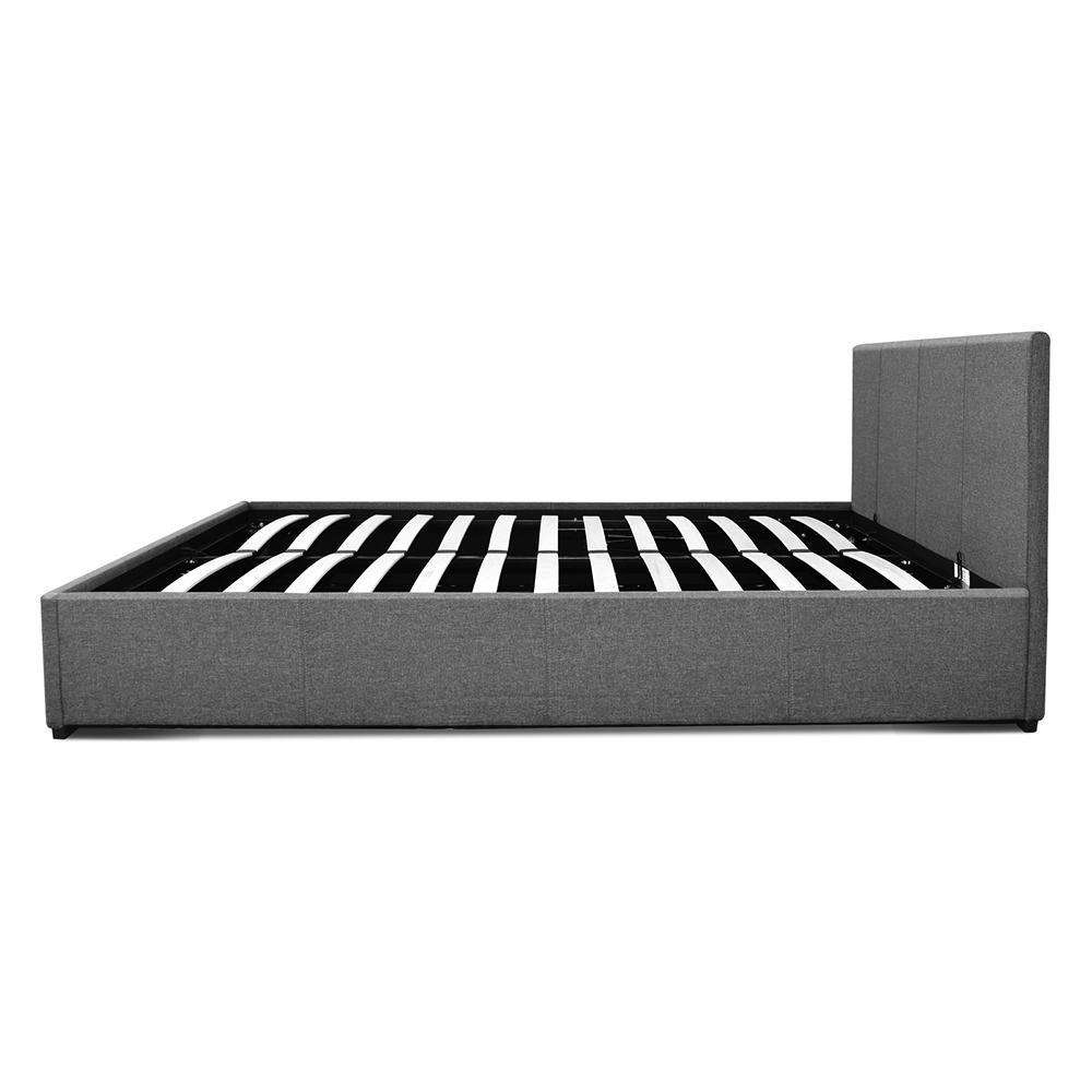 Queen Gas Lift Fabric Bed Frame Grey - Desirable Home Living