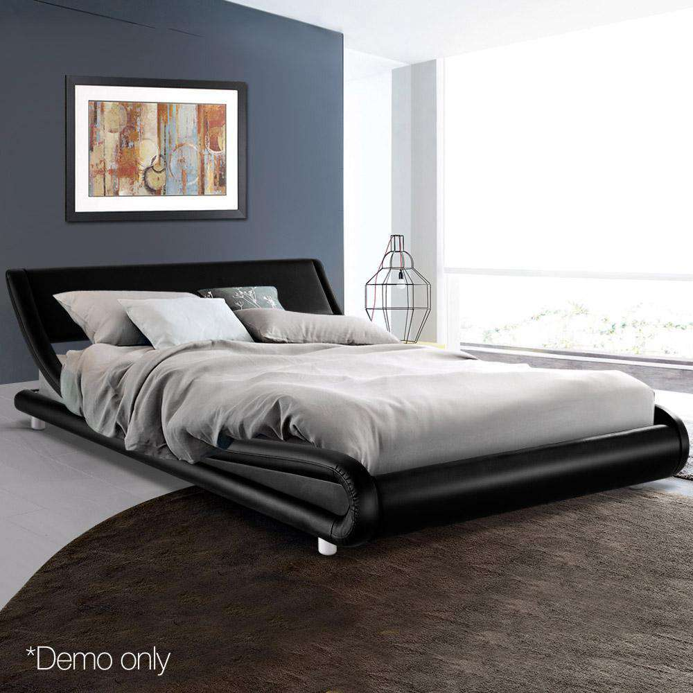 PU Leather Bed Frame King Black - Desirable Home Living