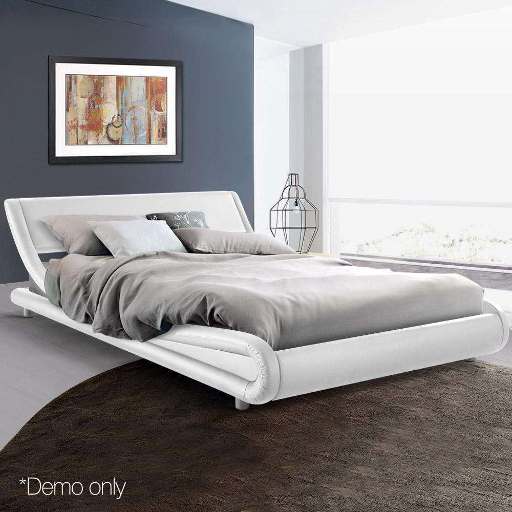 PU Leather Bed Frame King White - Desirable Home Living