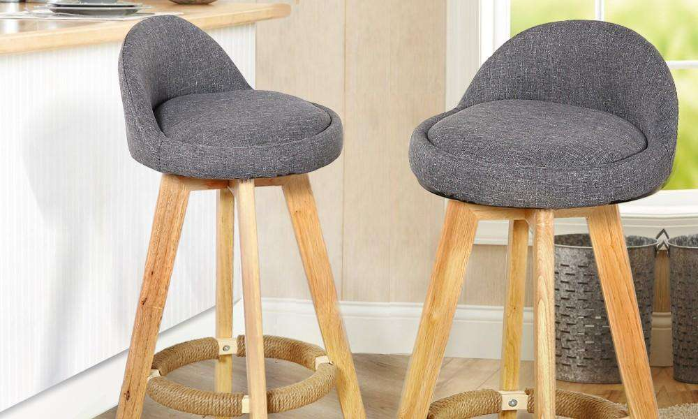2 X Wooden Bar Stools Grey Fabric