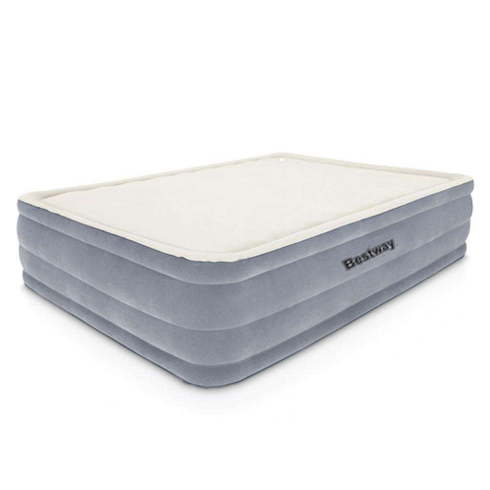 Bestway Queen Inflatable Air Mattress Bed w/ Built-in Electric Pump Grey