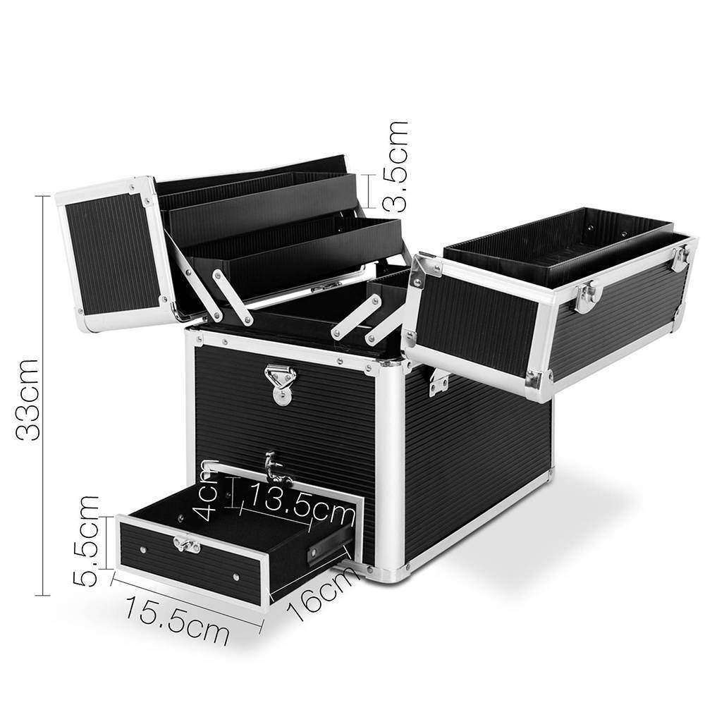 Portable Cosmetic Beauty Carry Case Box Black - Desirable Home Living
