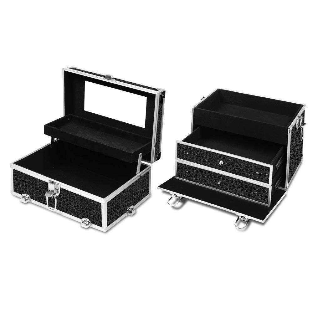 Portable Cosmetic Beauty Make Up Carry Case Box Crocodile Black - Desirable Home Living