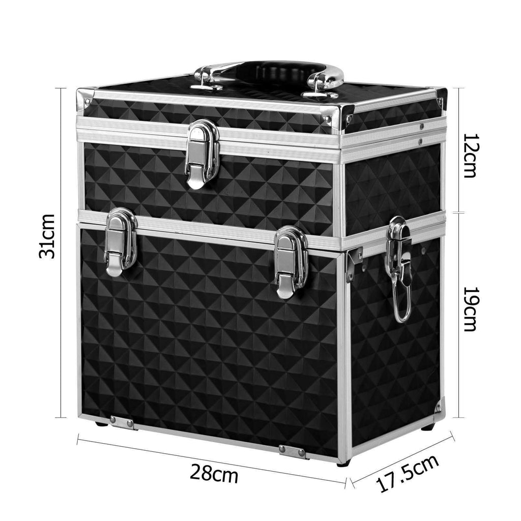 Portable Cosmetic Beauty Makeup Case Diamond Black - Desirable Home Living