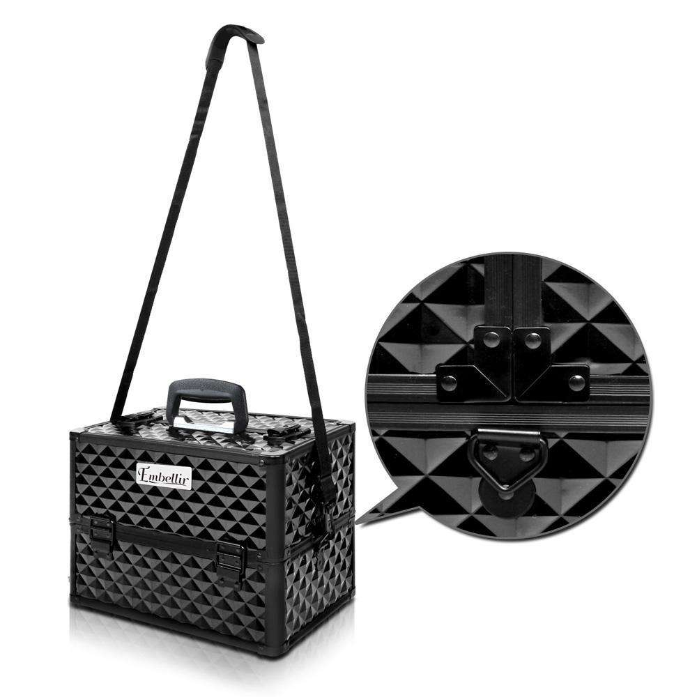 Portable Beauty Makeup Case Diamond Black - Desirable Home Living