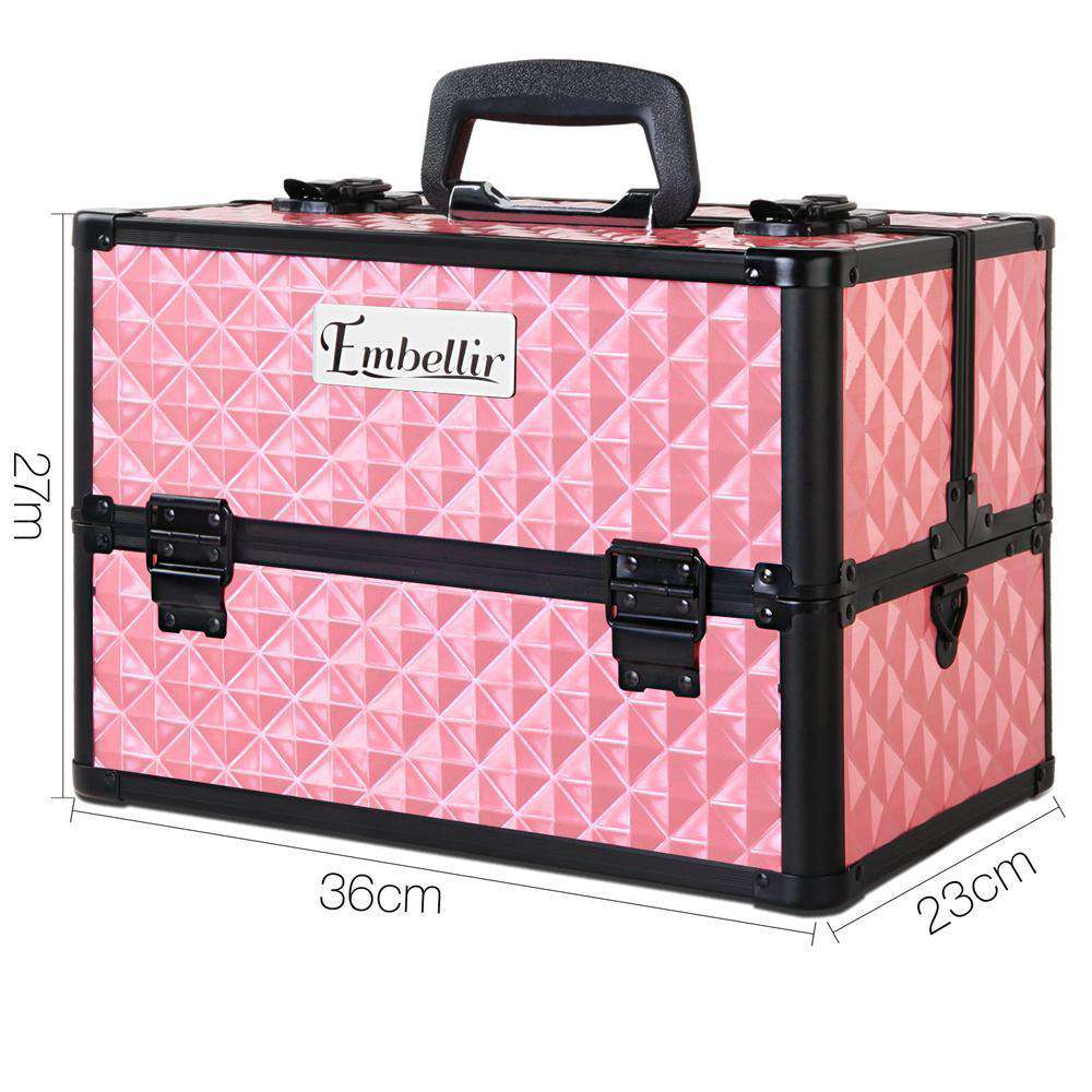 Portable Cosmetic Beauty Make Up Carry Case Box Pink - Desirable Home Living