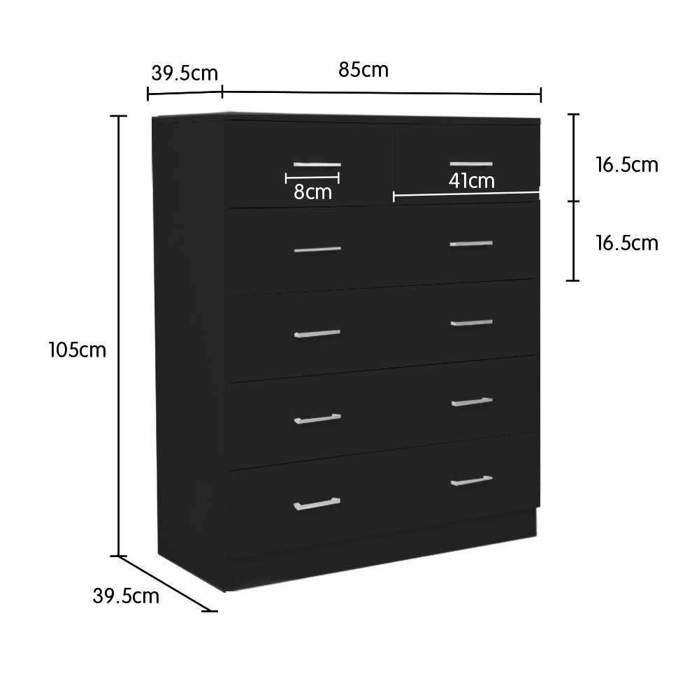 Tallboy Dresser 6 Chest Of Drawers Cabinet 85 X 39.5 X 105 - BLACK