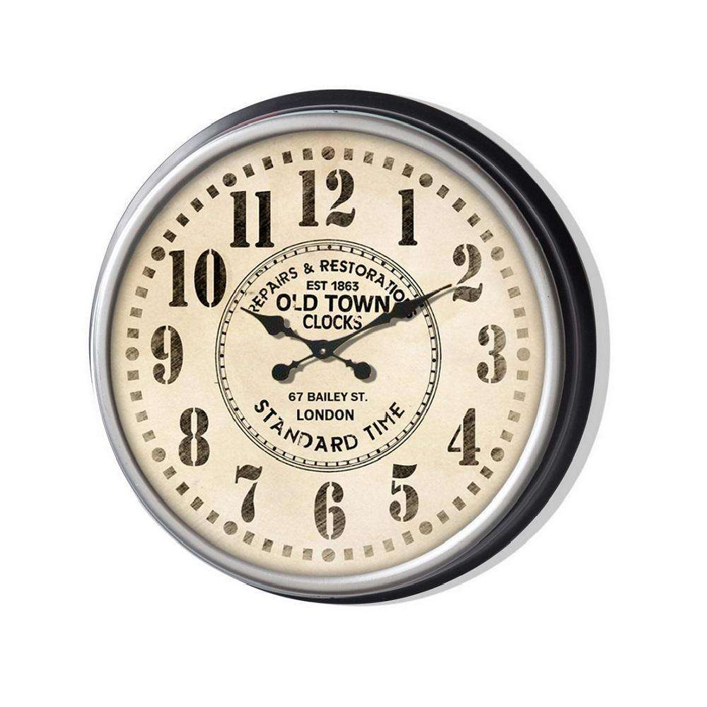 Classic 13'' Metal Wall Clock(Black Frame)