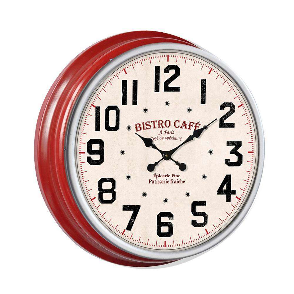 Classic 13'' Metal Wall Clock(Red Frame)