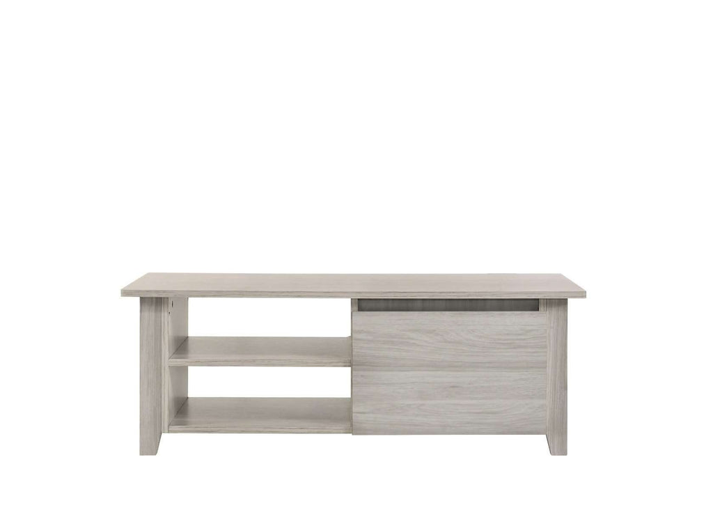 Coffee Table With Open Drawer In White Oak