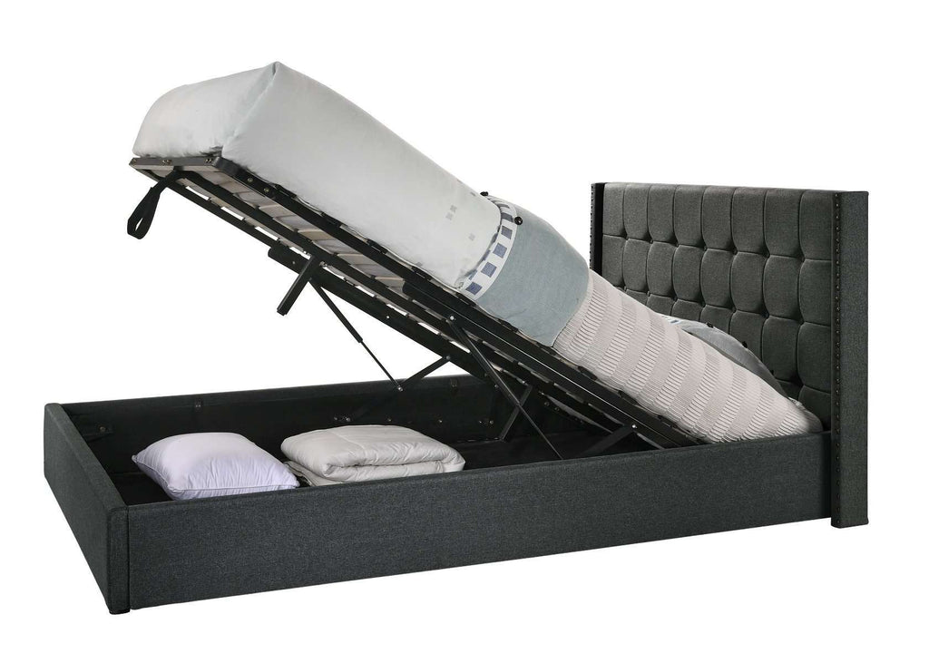 Double Sized Winged Fabric Bed Frame with Gas Lift Storage in Charcoal