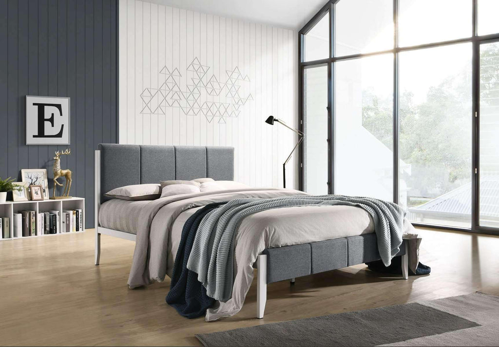 Fabric Upholstered Bed Frame in Grey - Double