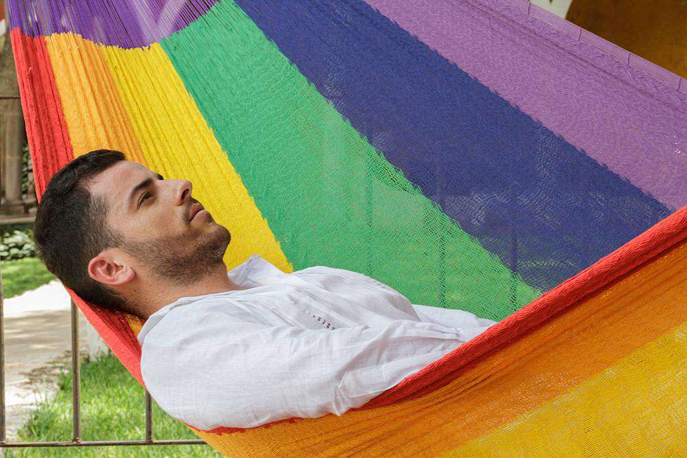 King Size Cotton Hammock in Rainbow