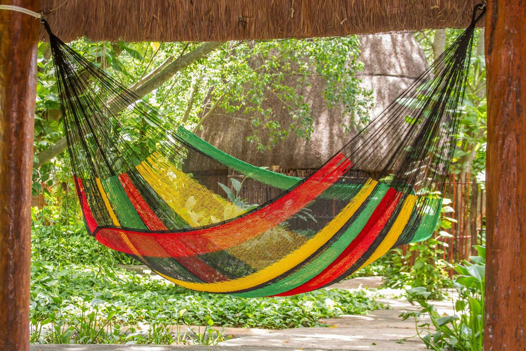 Jumbo Size Cotton Hammock in Rasta